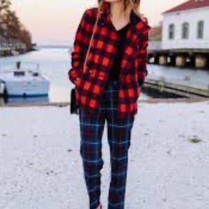 LINE THE LABEL buffalo red check coat